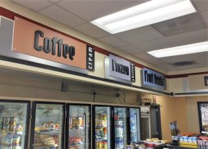 custom indoor retail convenience signage
